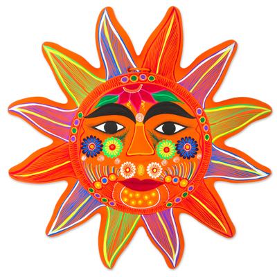Ceramic wall art, 'Splendid Sun' - Hand Crafted Ceramic Wall Art Sun Motif from Mexico