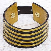 Leather wristband bracelet, 'Bumblebee' - Leather Yellow and Black Wristband Bracelet from Mexico