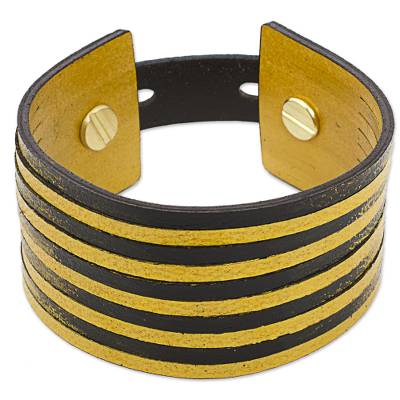 Leather Yellow and Black Wristband Bracelet from Mexico