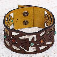 Quartz and leather wristband bracelet, 'The Eagle' - Quartz Leather Wristband Bracelet Eagle Designs from Mexico