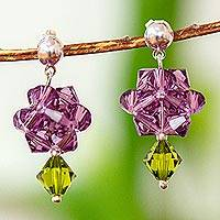 Crystal dangle earrings, 'Shooting Stars in Purple' - Purple Swarovski Crystal Dangle Earrings from Mexico