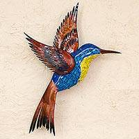 Glass mosaic and steel wall sculpture, 'Blue Hummingbird' (right-facing)