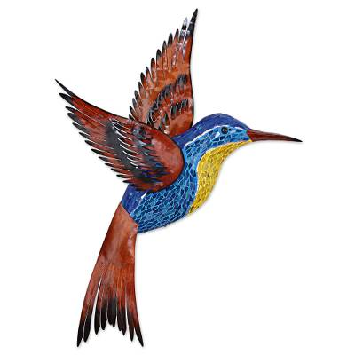 Glass mosaic and steel wall sculpture, 'Blue Hummingbird' (right-facing) - Steel Wall Art Right Facing Blue Hummingbird Mexico