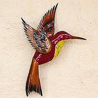 Glass mosaic and steel wall sculpture, 'Red Hummingbird' (right-facing) - Steel Wall Art Right Facing Red Hummingbird Mexico