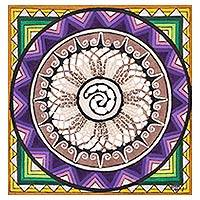 Amate paper wall art, 'Colorful Spiral' - Hand Painted Paper Wall Art Multicolored Spiral Mexico