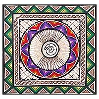 Amate paper wall art, 'Flower Spiral' - Multicolor Hand Painted Spiral Wall Art Paper from Mexico