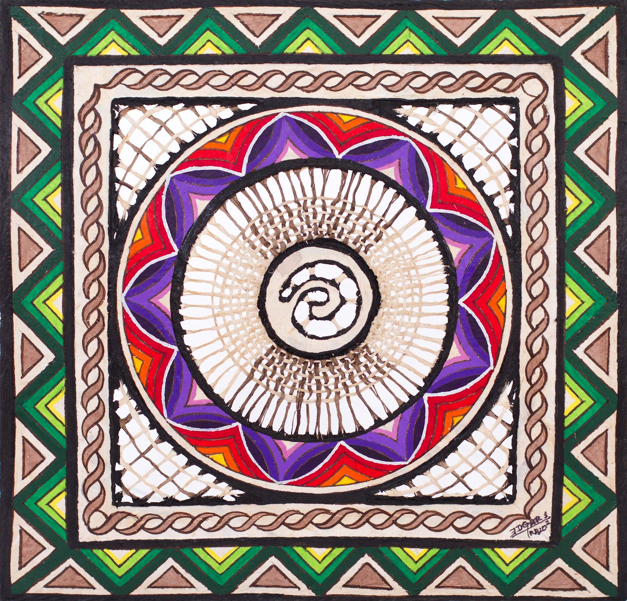 Multicolor Hand Painted Spiral Wall Art Paper from Mexico - Flower ...