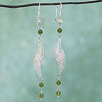 Agate filigree dangle earrings, 'Aural Leaf in Green' - Filigree Sterling Silver Agate Dangle Earrings from Mexico