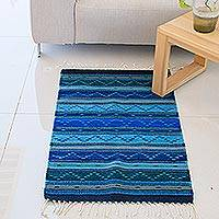Zapotec Wool Rug Ocean Waves 2x3 Hand Made