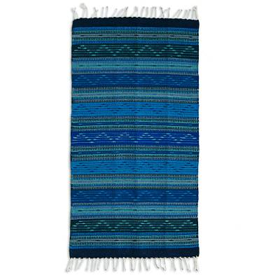 Zapotec wool rug, 'Ocean Waves' (2x3) - Hand Made Zapotec Wool Area Rug with Fringes from Mexico