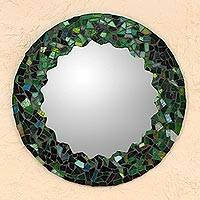 Glass mosaic wall mirror, 'Mosaic in Emerald' - Hand Made Green Glass Mosaic Wall Mirror from Mexico