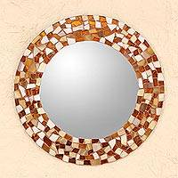 Glass mosaic wall mirror, 'Mosaic in Amber' - Hand Made Amber Color Glass Mosaic Wall Mirror from Mexico