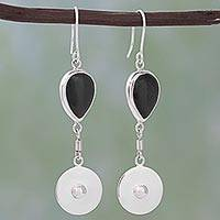 Obsidian dangle earrings, 'Obsidian Moon' - 950 Silver and Obsidian Dangle Earrings from Mexico