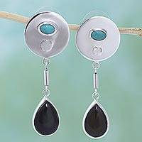 Turquoise dangle earrings, 'Fantasy Moons' - Silver Obsidian Turquoise Dangle Earrings from Mexico
