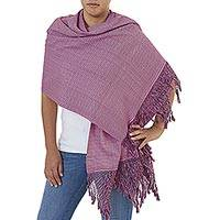 Cotton shawl, 'Fringed Orchid' - Hand Made Orchid Fringed Cotton Shawl from Mexico