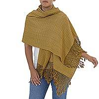 Cotton shawl, 'Fringed Amber' - Hand Made Amber Fringed Cotton Shawl from Mexico