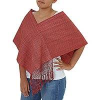 Cotton poncho, 'Crimson Nahua' - Hand Made Crimson Fringed Cotton Wrap from Mexico