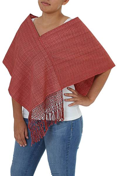 Hand Made Crimson Fringed Cotton Wrap from Mexico