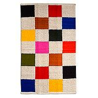 Wool area rug, 'Square Fiesta' (3.5x5.5) - Wool Rug with Multi Color and Ivory Squares (3.5x5.5)