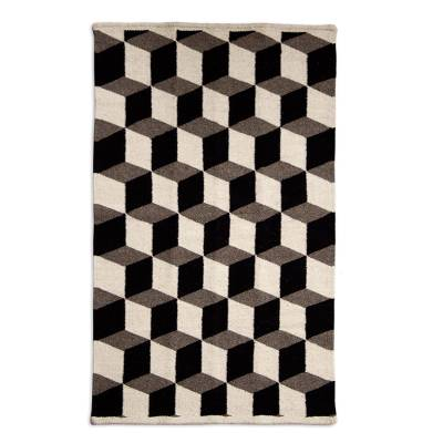 Grey Cubes Escher Style Hand Woven Wool Rug From Mexico Square