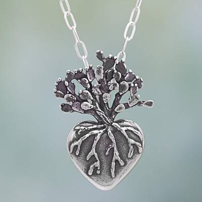 Hand Made Sterling Silver Pendant Necklace Heart from Mexico