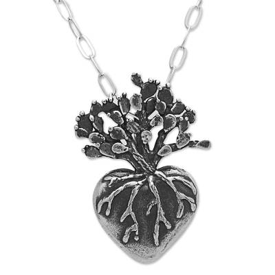 Sterling silver pendant necklace, 'Root of Life' - Hand Made Sterling Silver Pendant Necklace Heart from Mexico
