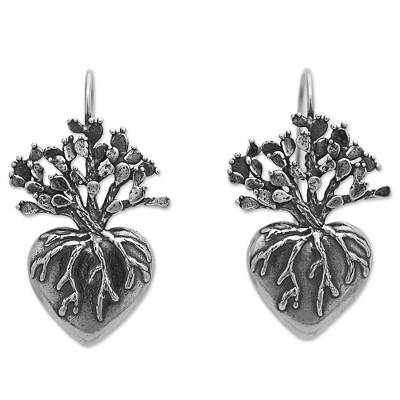 Sterling silver drop earrings, 'Root of Life' - Hand Made Sterling Silver Drop Earrings Heart from Mexico