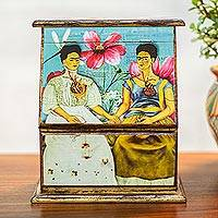 Wood decorative box, 'Las Dos Fridas' - Frida Kahlo Wood Decorative Box from Mexico