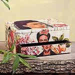Floral Frida Portraits Decoupage on Pinewood Decorative Box, 'Floral Frida'
