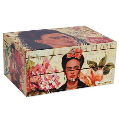 Decoupage wood box, 'Floral Frida' - Floral Frida Portraits Decoupage on Pinewood Decorative Box