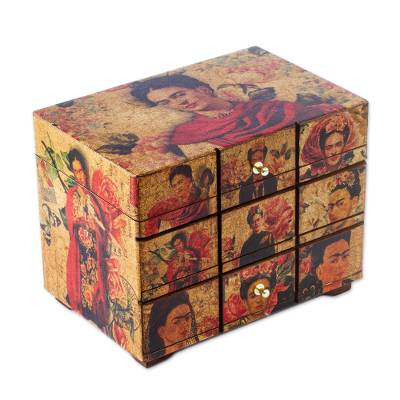 Decoupage wood box, 'Blossoming Frida' - Frida Kahlo Art Decoupage on Pinewood Decorative Box