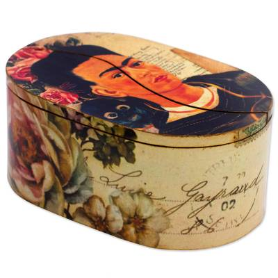 Decoupage decorative box, 'Frida and Monkey' - Frida and Monkey on Artisan Crafted Decoupage Decorative Box
