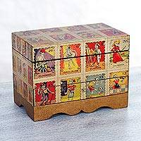 Decoupage jewelry box, 'Day of the Dead Lottery'