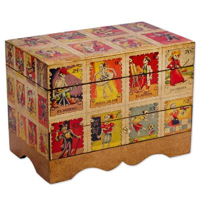Decoupage jewelry box, 'Day of the Dead Lottery' - Day of the Dead Bingo Decoupage on Pinewood Jewelry Box