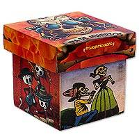 Decoupage decorative box, 'Day of the Dead Love' - Mexican Decorative Box in Decoupage Day of the Dead Love