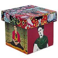 Decoupage decorative box, 'Day of the Dead Frida' - Frida Kahlo on Artisan Crafted Decorative Box in Decoupage
