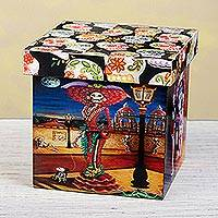 Decoupage decorative box, 'Day of the Dead Portraits' - Day of the Dead Theme on Mexican Decoupage Decorative Box
