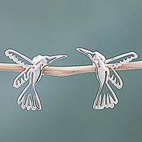 Sterling silver button earrings, 'Pair of Hummingbirds'