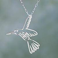 Sterling silver pendant necklace, 'The Hummingbird' - Handmade Sterling Silver Pendant Necklace Hummingbird Mexico