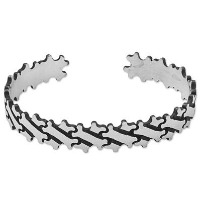 Hand Made Sterling Silver Cuff Bracelet Bone Motif Mexico