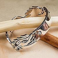 Sterling silver link bracelet, 'Aztec Dragon' - Sterling Silver Link Bracelet Aztec Dragon Mexico