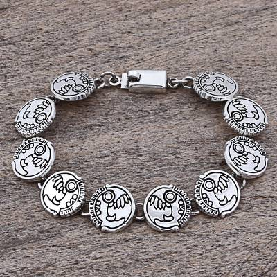 Hand Made Sterling Silver Link Bracelet Aztec Snake Mexico
