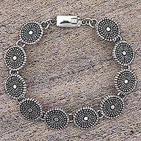 Sterling silver link bracelet, 'Little Suns' - Sterling Silver Link Bracelet with Dot Motif Mexico