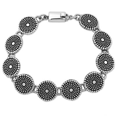 Sterling Silver Link Bracelet with Dot Motif Mexico