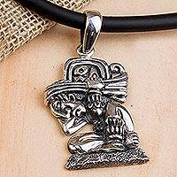 Sterling silver pendant necklace, 'The Carrier of Time' - Mayan Glyph Sterling Silver Necklace with a Rubber Cord