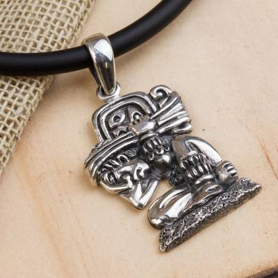 Mayan glyph sterling silver necklace with a rubber cord the sterling silver pendant necklace the carrier of time mayan glyph sterling silver aloadofball Images