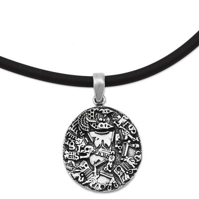 Sterling Silver Rubber Pendant Necklace Aztec God Mexico
