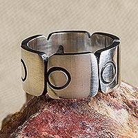 Sterling silver band ring, 'Aztec Squares' - Sterling Silver Band Ring with Square Circle Motifs Mexico