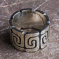 Sterling silver band ring, 'Zapotec Spirals' - Sterling Silver Band Ring with Spiral Motifs Mexico