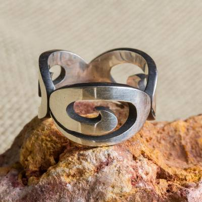 Sterling silver band ring, 'Ancient Swirls' - Sterling Silver Band Ring with Swirl Motifs Mexico